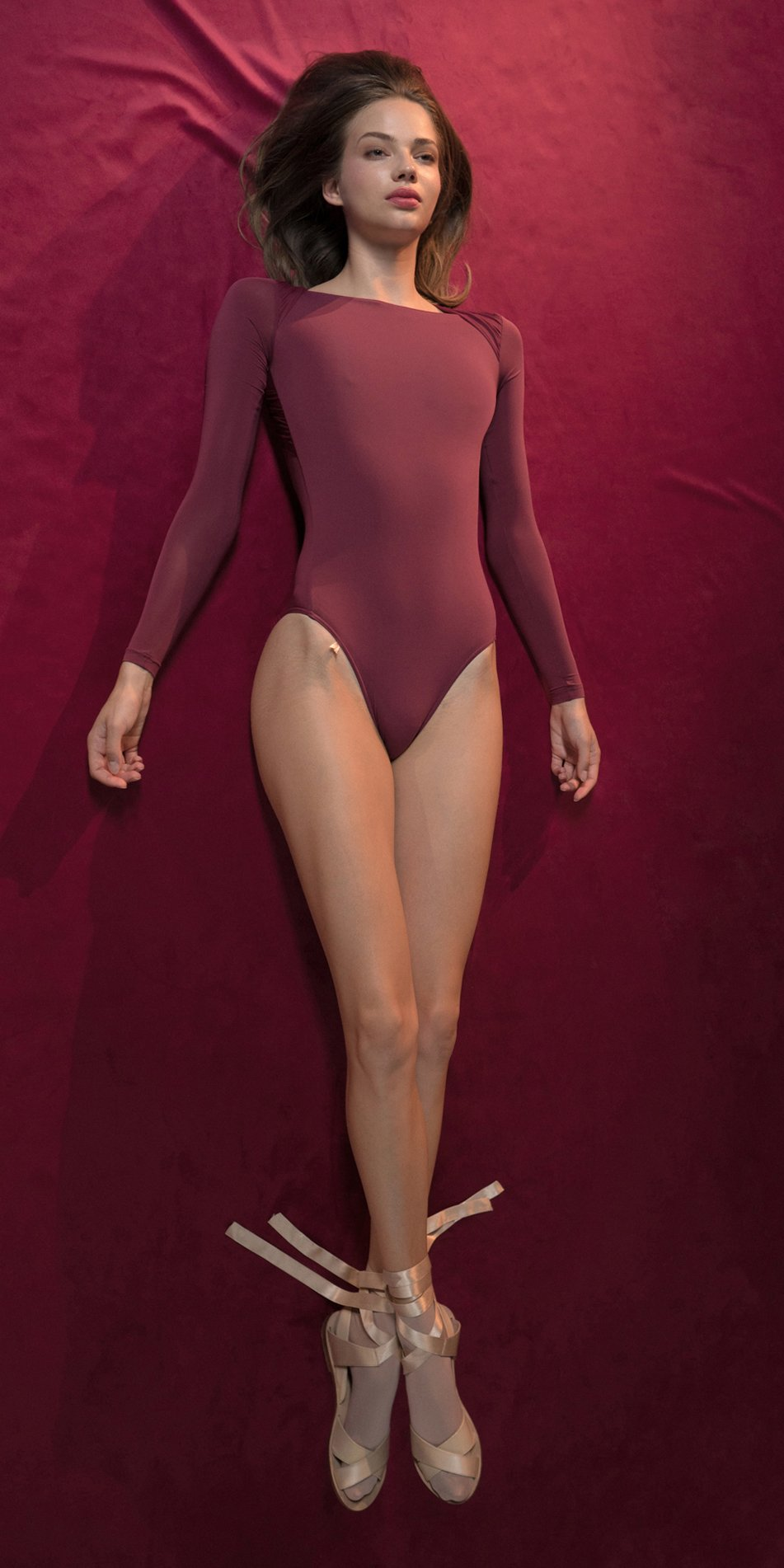 GRES red knotted nude leotard with sleeves 3