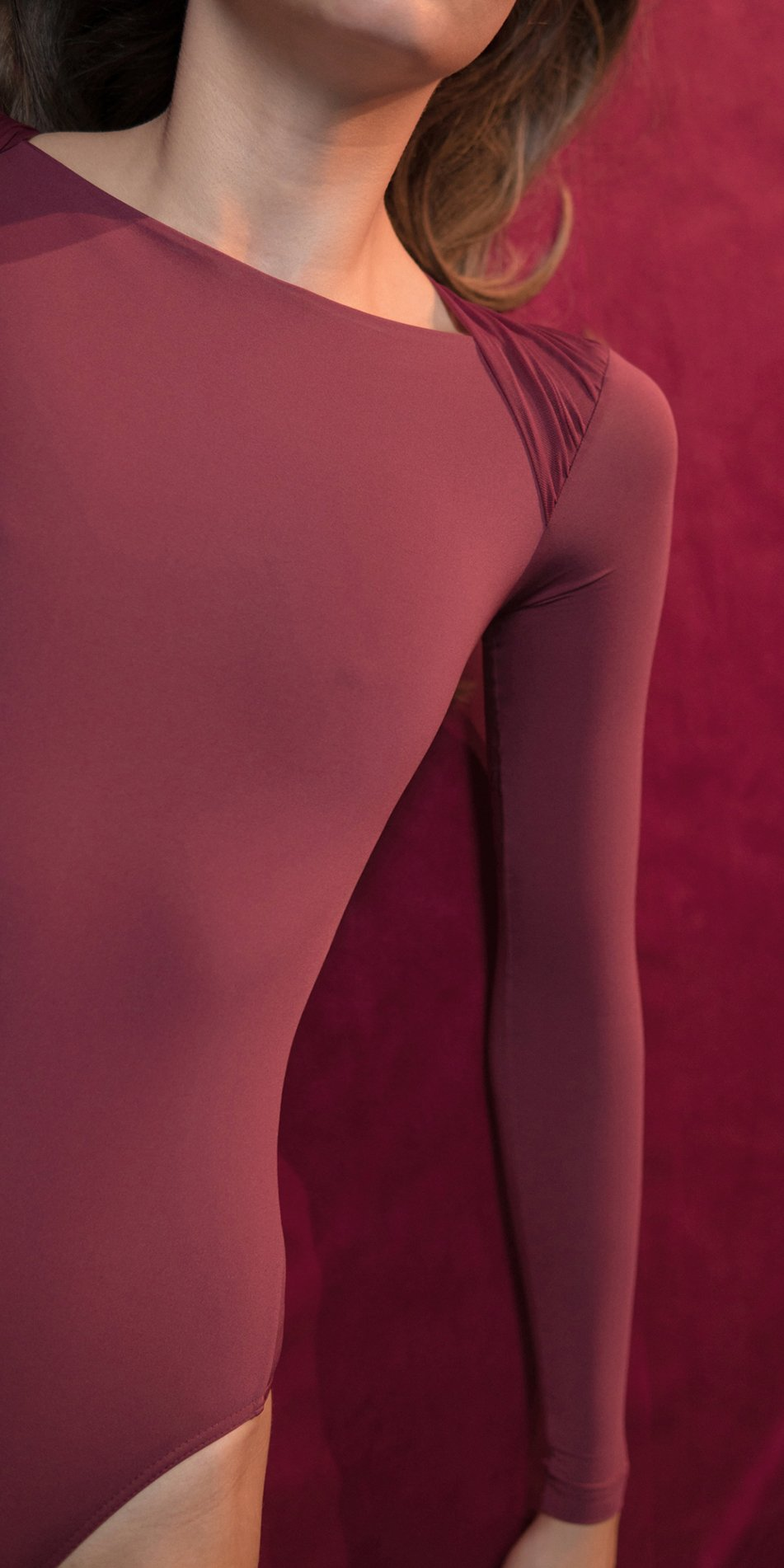 GRES red knotted nude leotard with sleeves 4