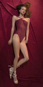 GRES red nude knotted neckline leotard 4