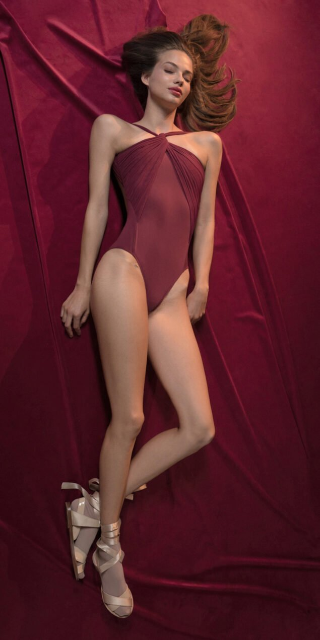 GRES red nude knotted neckline leotard 4