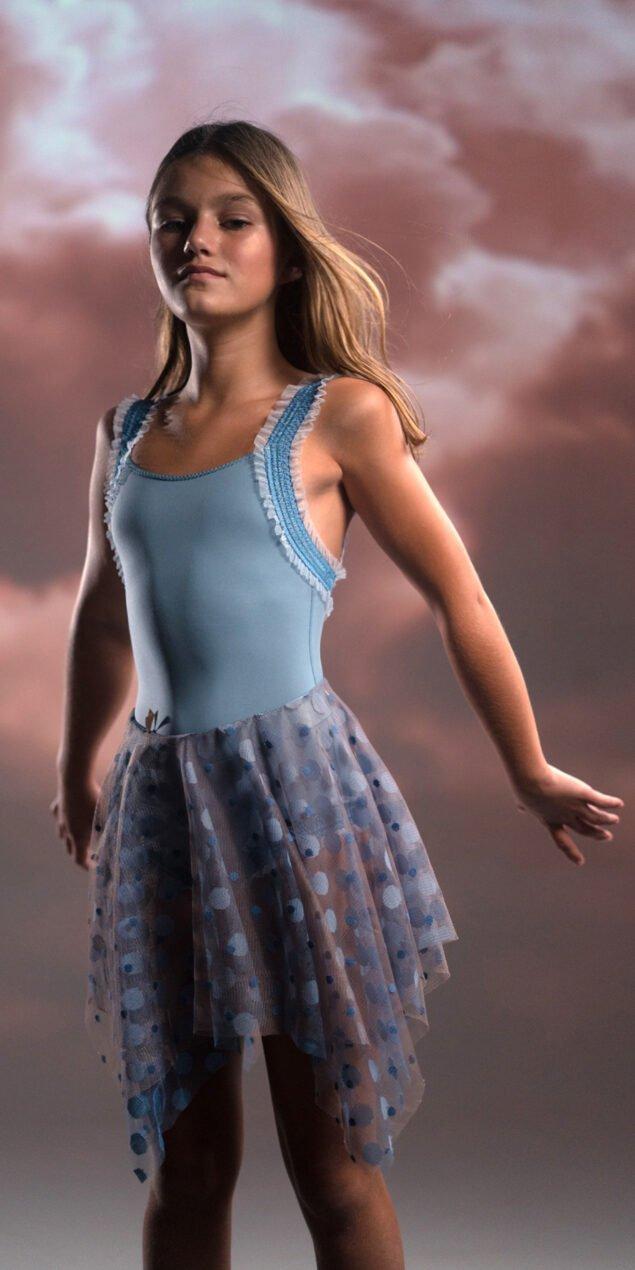 JUNIOR JUMBO POLKA TULLE blue square skirt 1