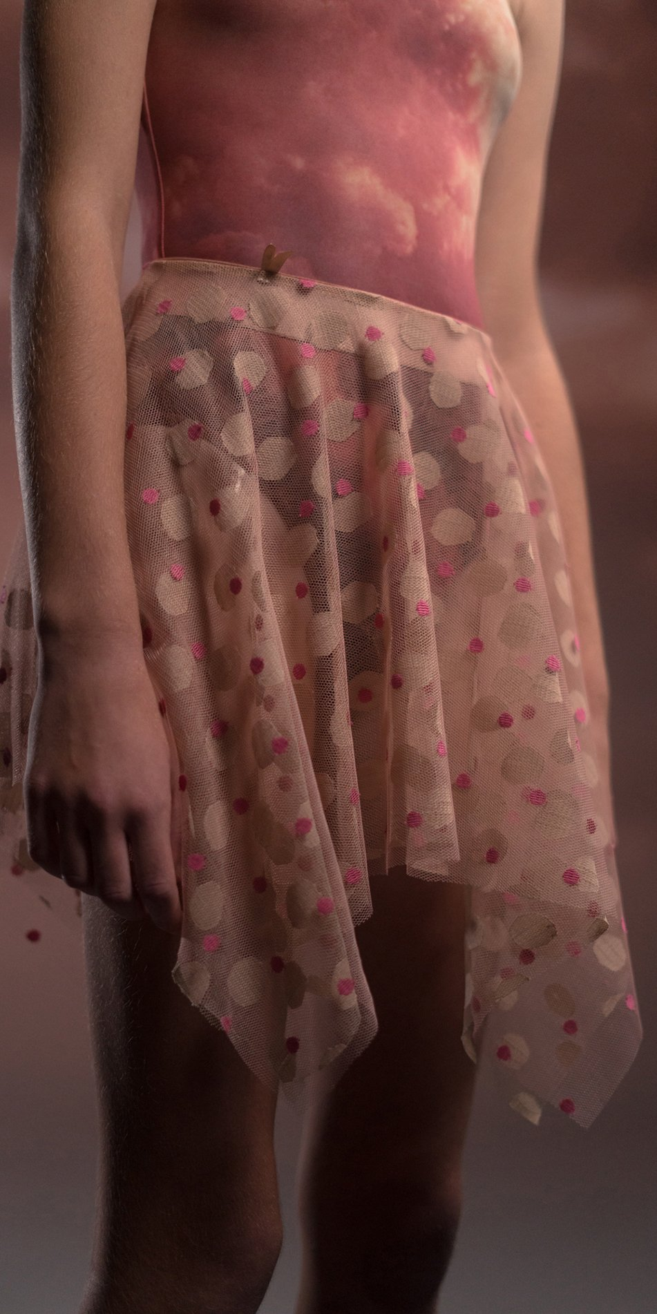 JUNIOR JUMBO POLKA TULLE blush nude square skirt 3