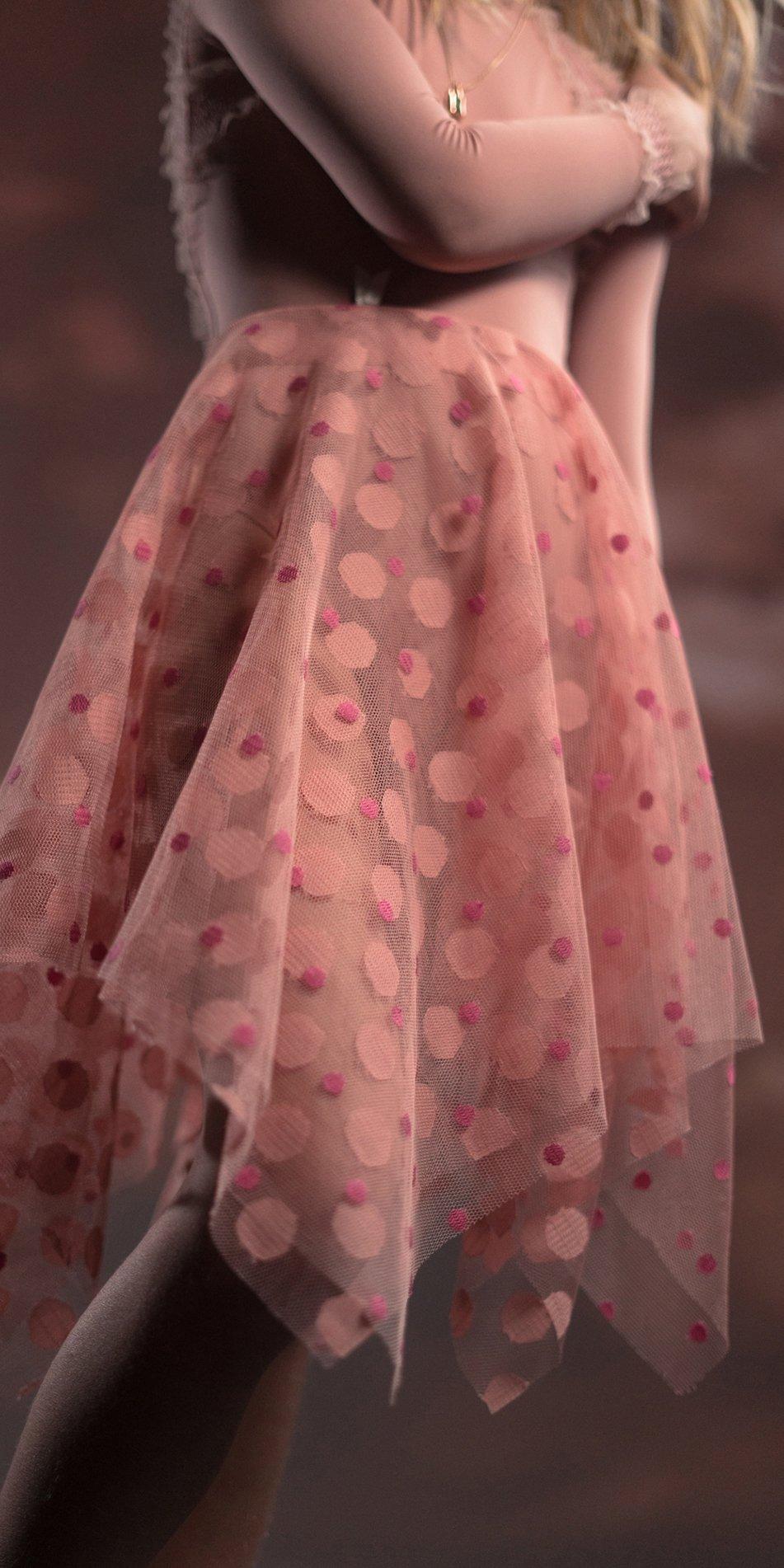 JUNIOR JUNIOR JUMBO TULLE blush square skirt 7