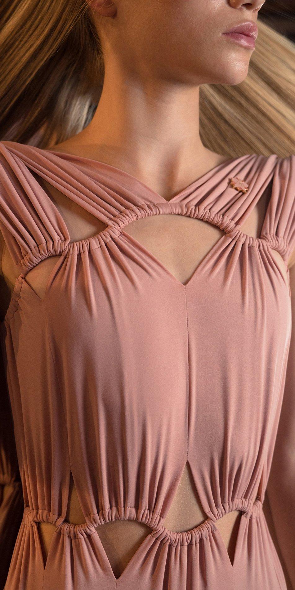 ASTERIA blush draped cut out leotard 4