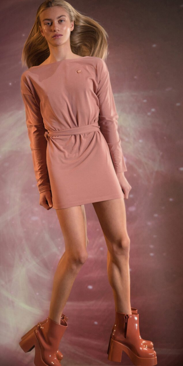 BALLERINA blush back wrap mini dress with long sleeves 2