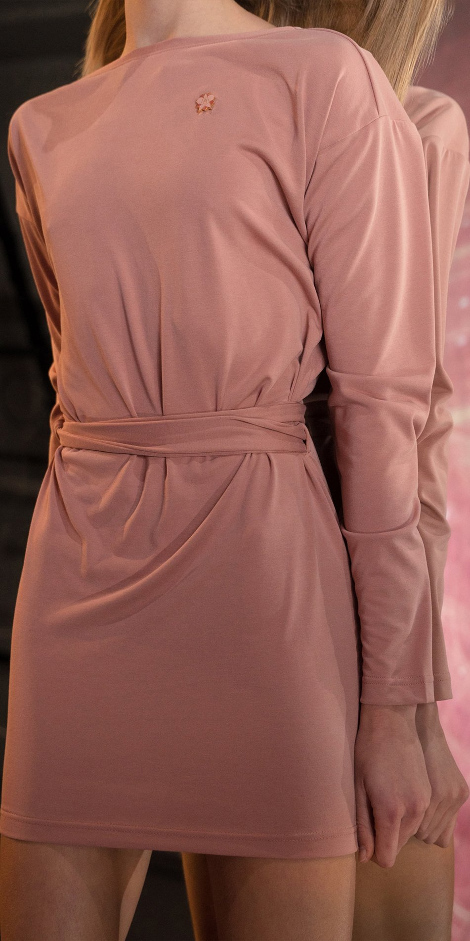 BALLERINA blush back wrap mini dress with long sleeves 3