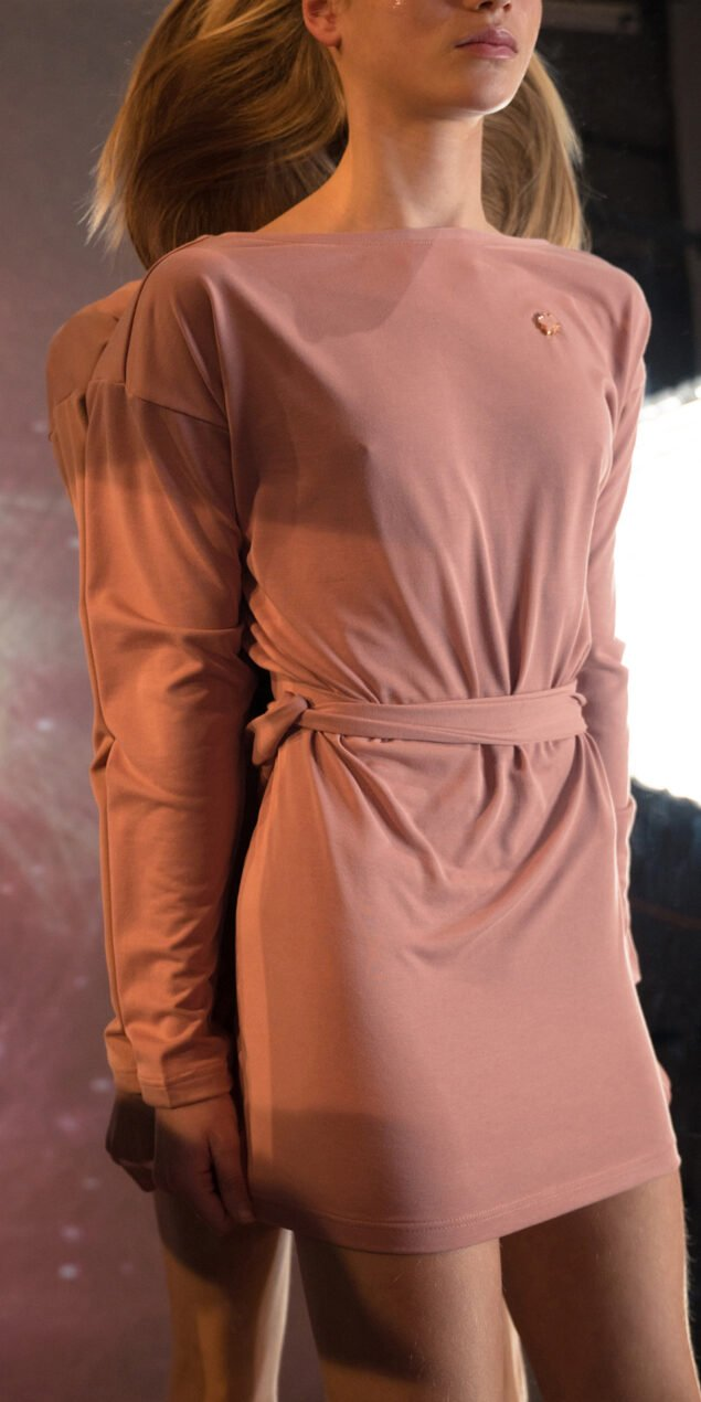 BALLERINA blush back wrap mini dress with long sleeves 4