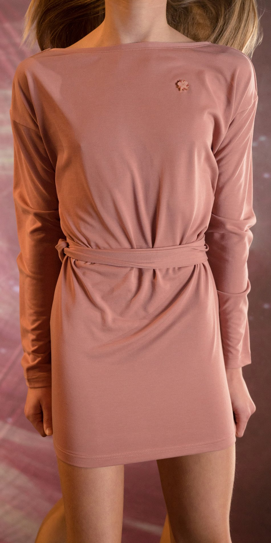 BALLERINA blush back wrap mini dress with long sleeves 5