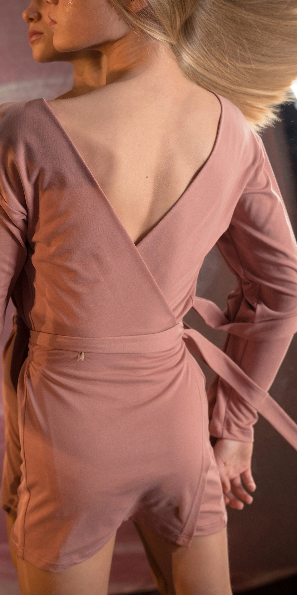 BALLERINA blush back wrap mini dress with long sleeves 7