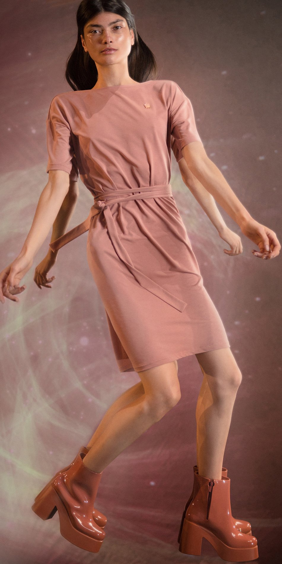 BALLERINA blush back wrap t dress 1