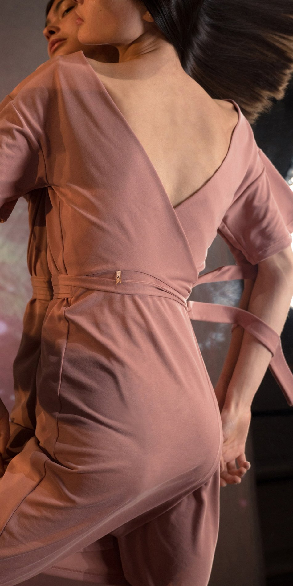 BALLERINA blush back wrap t dress 2