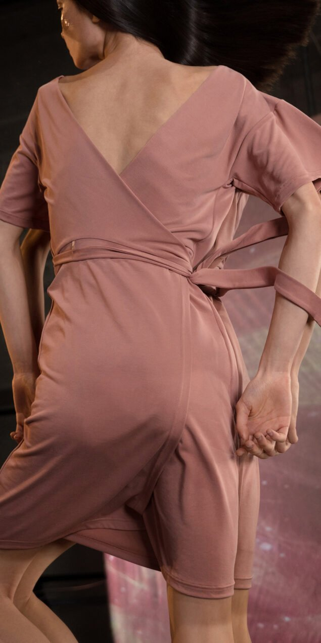 BALLERINA blush back wrap t dress 3