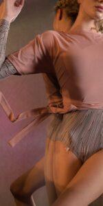 BALLERINA blush back wrap t shirt 1