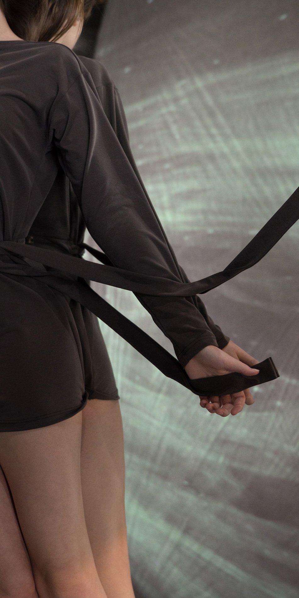 BALLERINA chocolate back wrap mini dress with long sleeves 3
