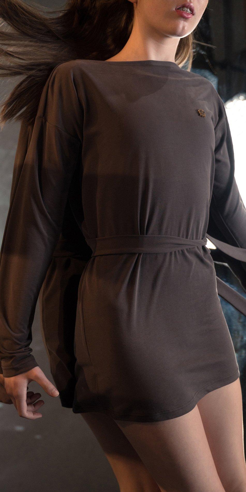 BALLERINA chocolate back wrap mini dress with long sleeves 5