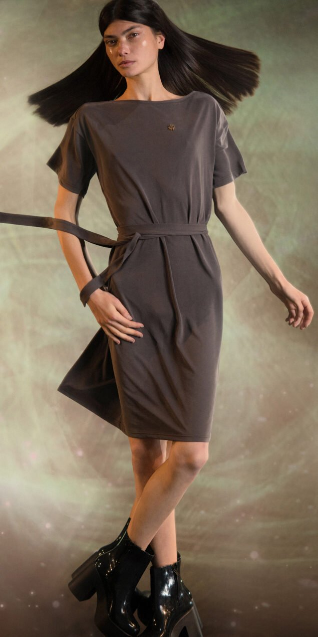 BALLERINA chocolate back wrap t dress 1