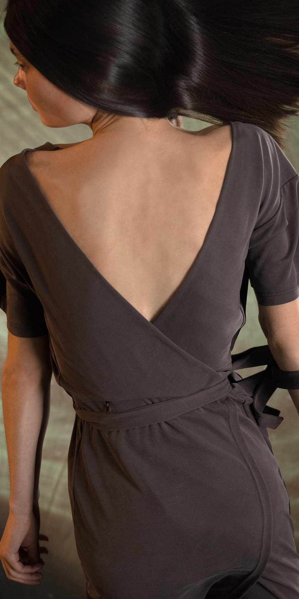 BALLERINA chocolate back wrap t dress 2