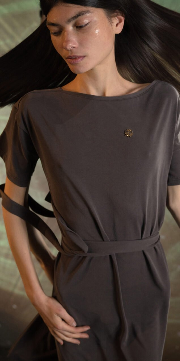 BALLERINA chocolate back wrap t dress 6
