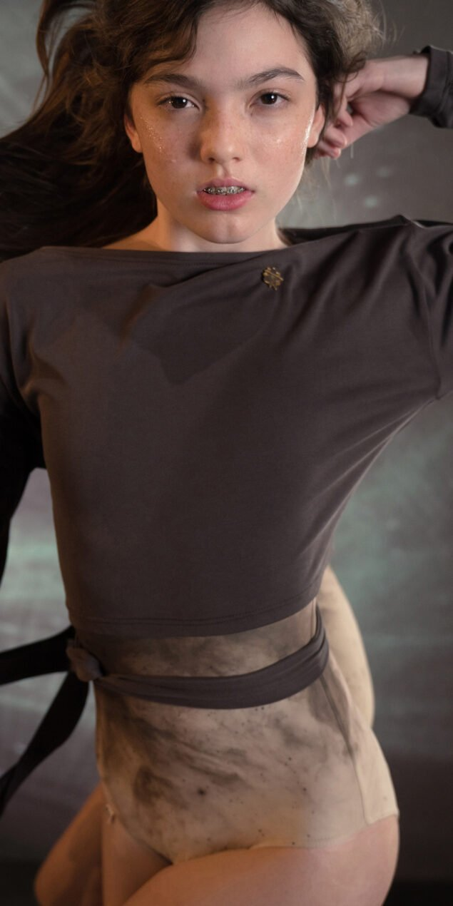 BALLERINA chocolate back wrap t shirt with long sleeves 6