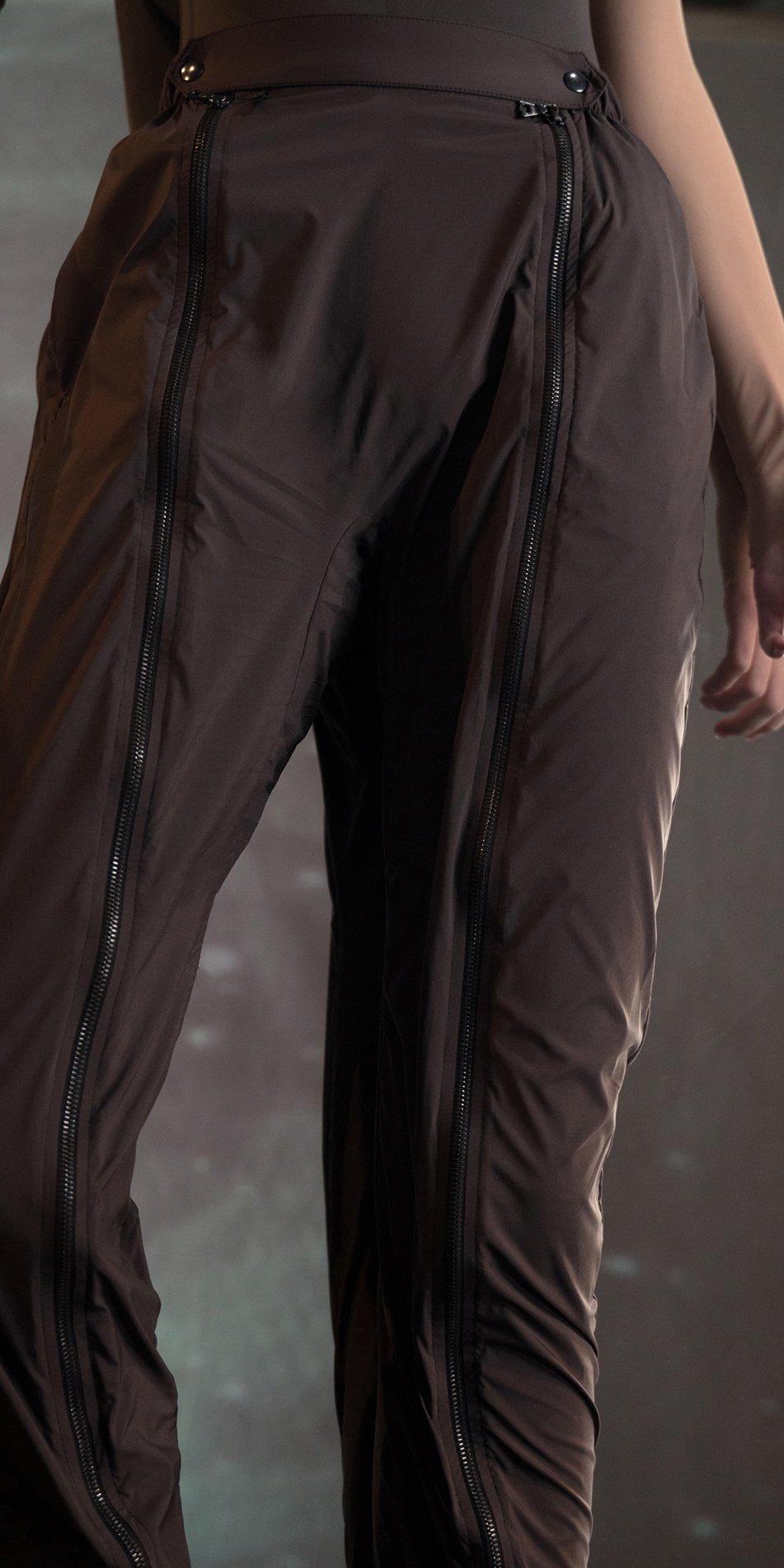 BOMBER chocolate double zip pants 2