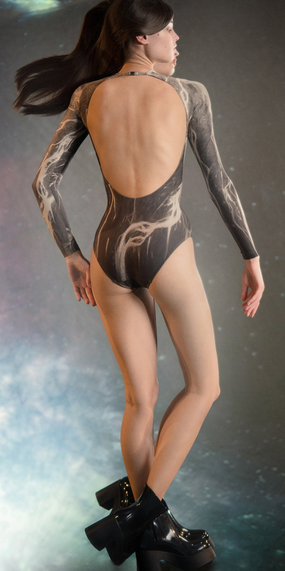 DELTA low back leotard with long sleeves chocolate 2