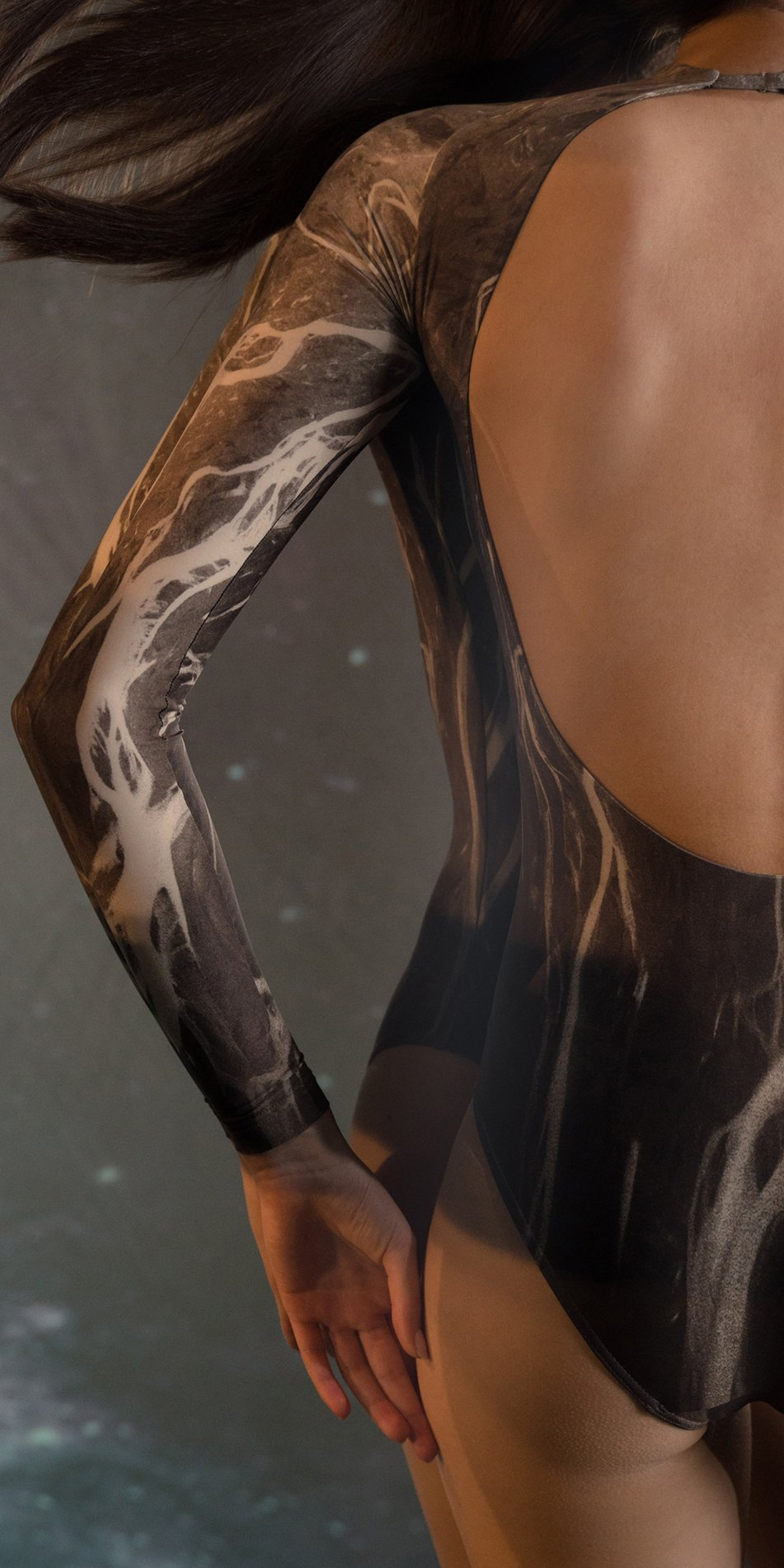 DELTA low back leotard with long sleeves chocolate 4