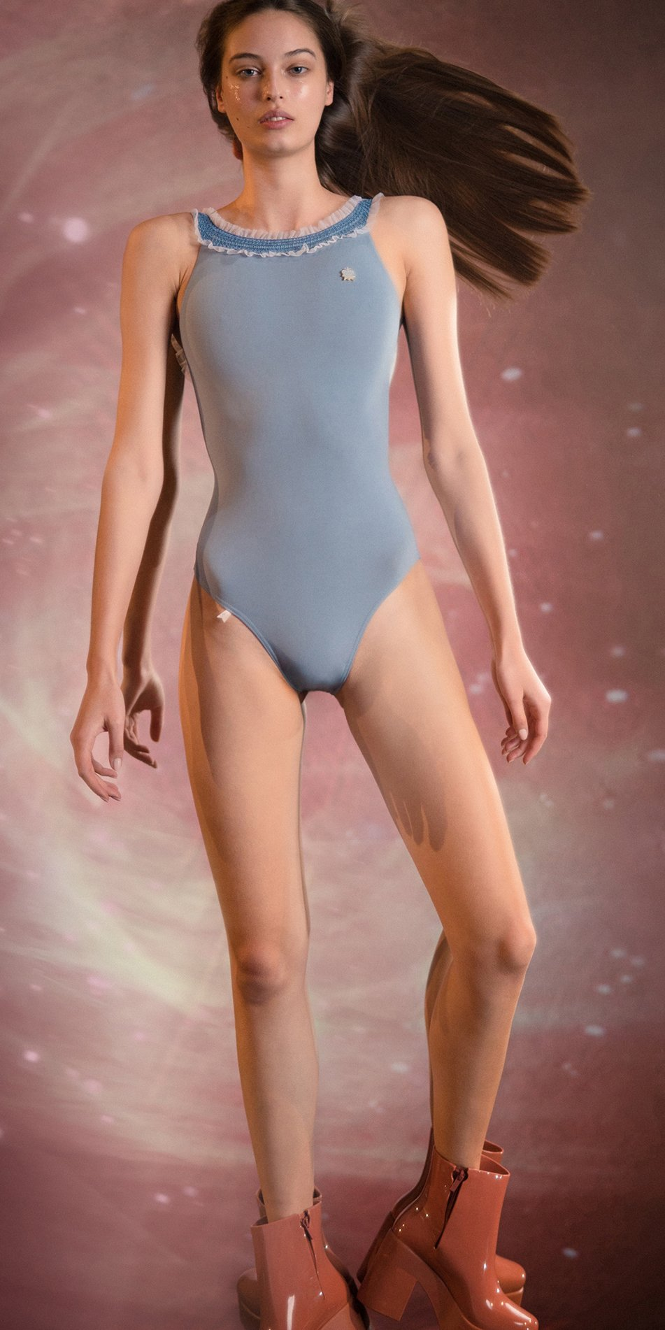ELEANOR blue cross back leotard 1