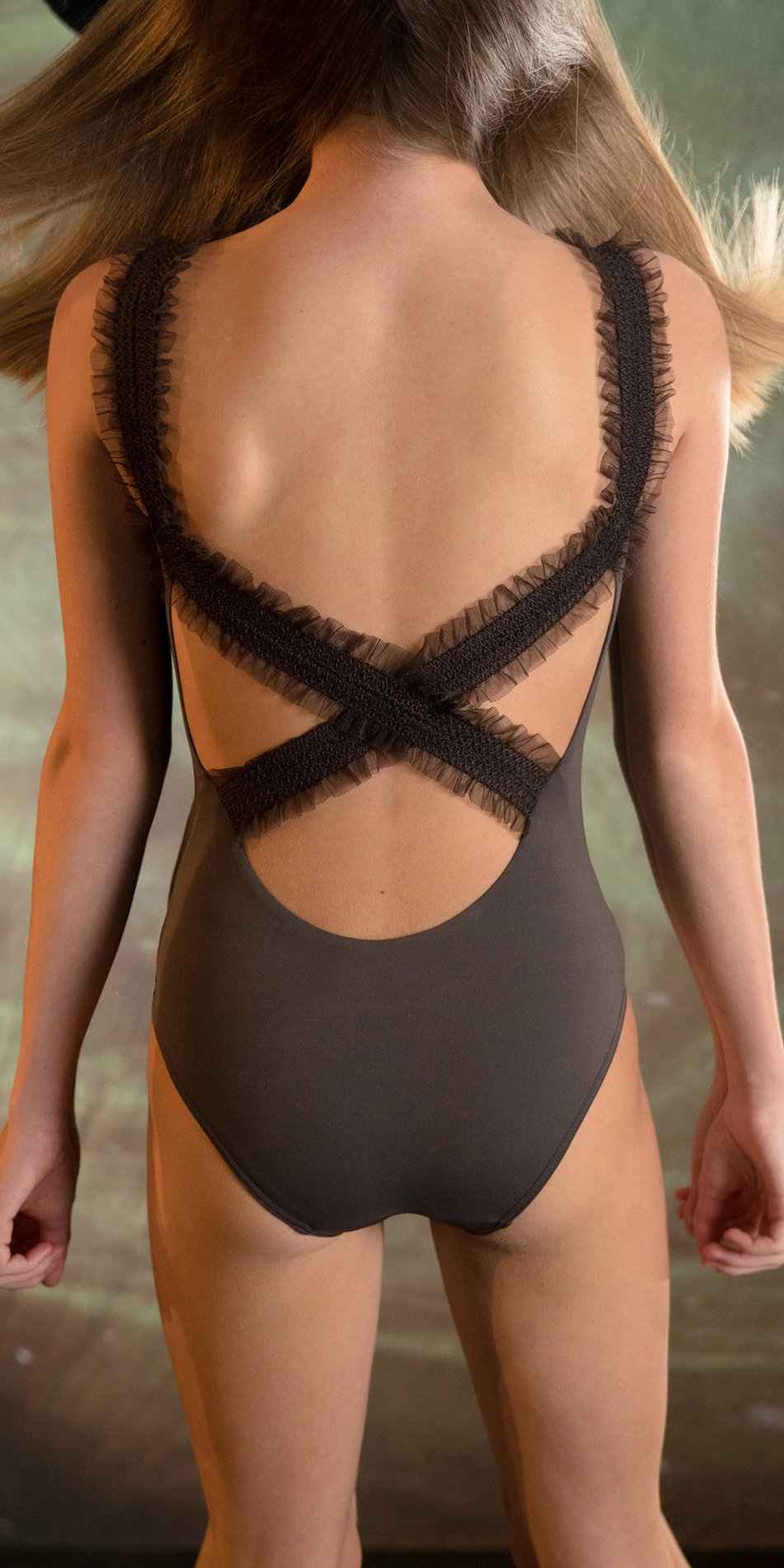 ELEANOR chocolate cross back leotard 2