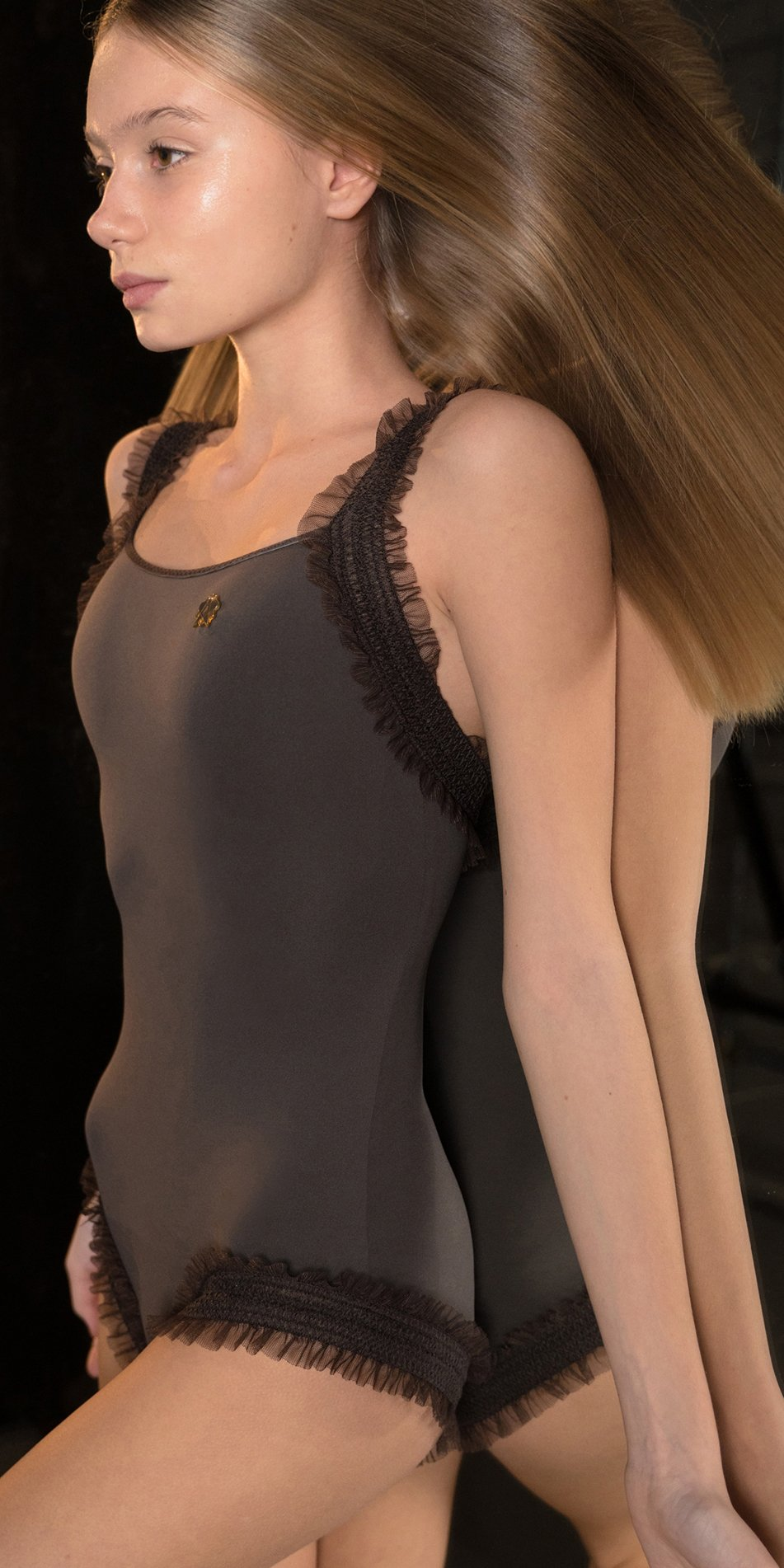 ELEANOR chocolate leotard with straps 2