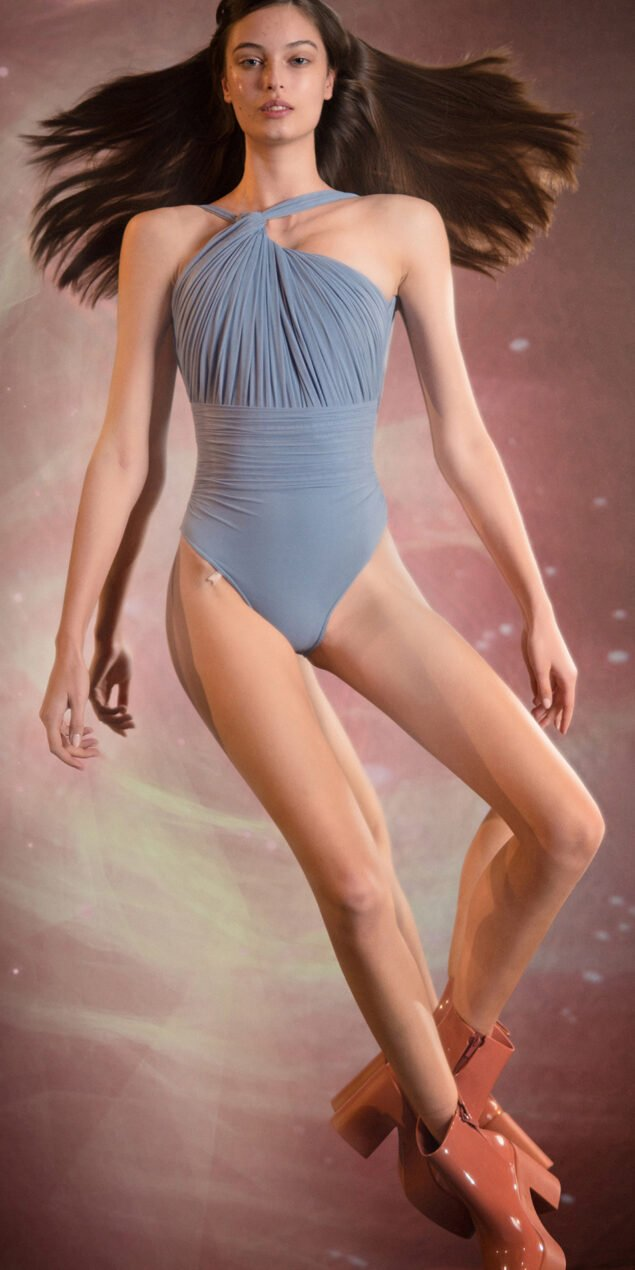 GRES blue one shoulder knot draped leotard 1