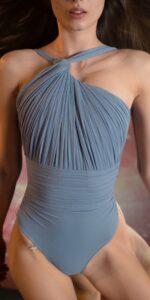 GRES blue one shoulder knot draped leotard 2