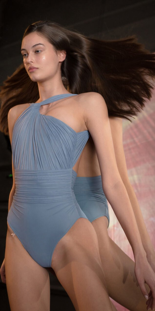 GRES blue one shoulder knot draped leotard 4