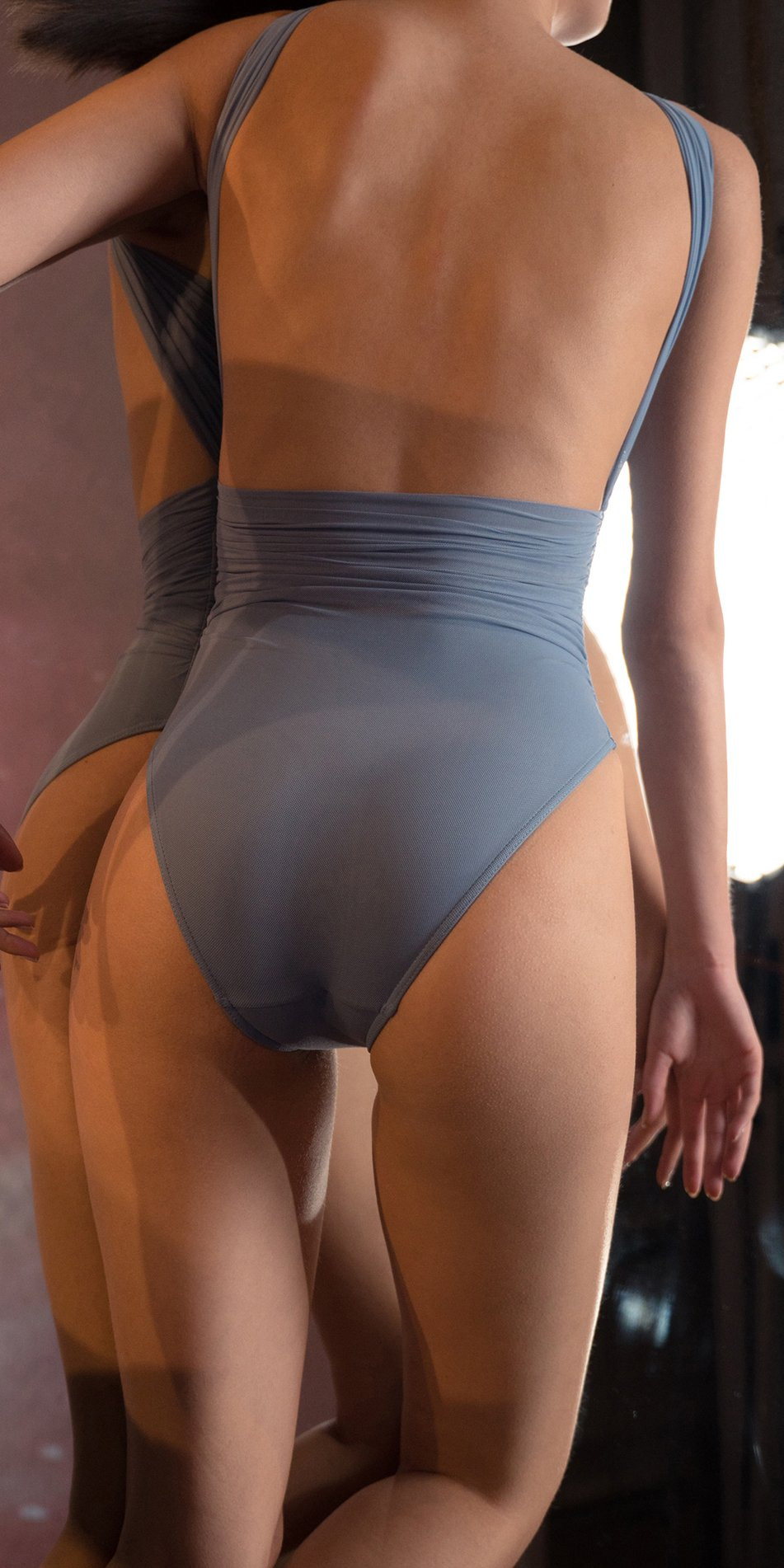 GRES blue one shoulder knot draped leotard 5