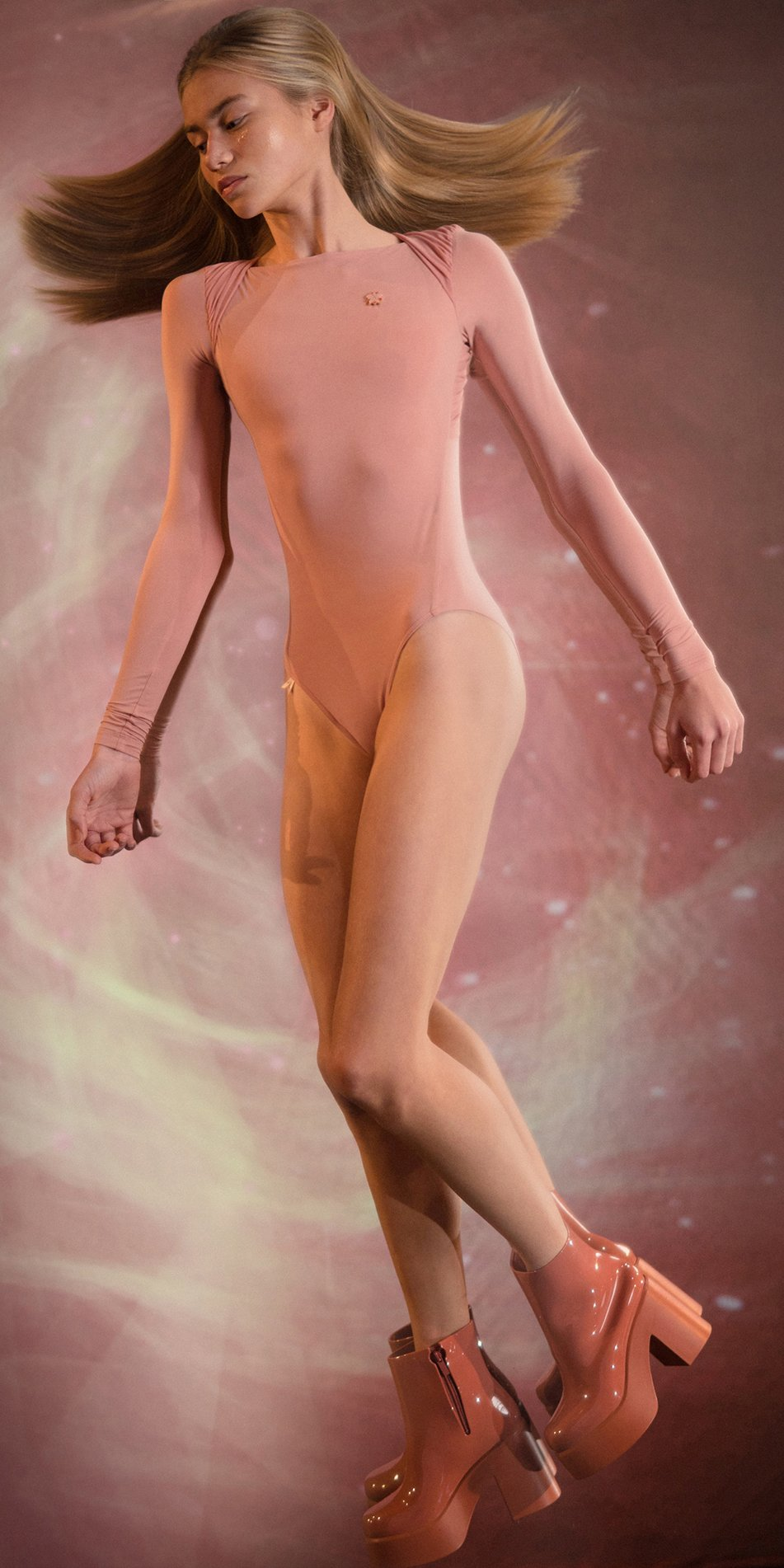 GRES blush knotted back leotard with sleeves 1