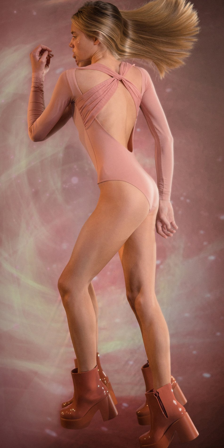 GRES blush knotted back leotard with sleeves 2