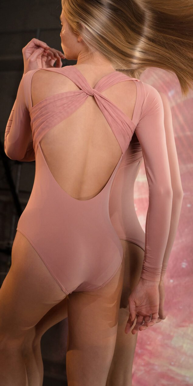 GRES blush knotted back leotard with sleeves 3