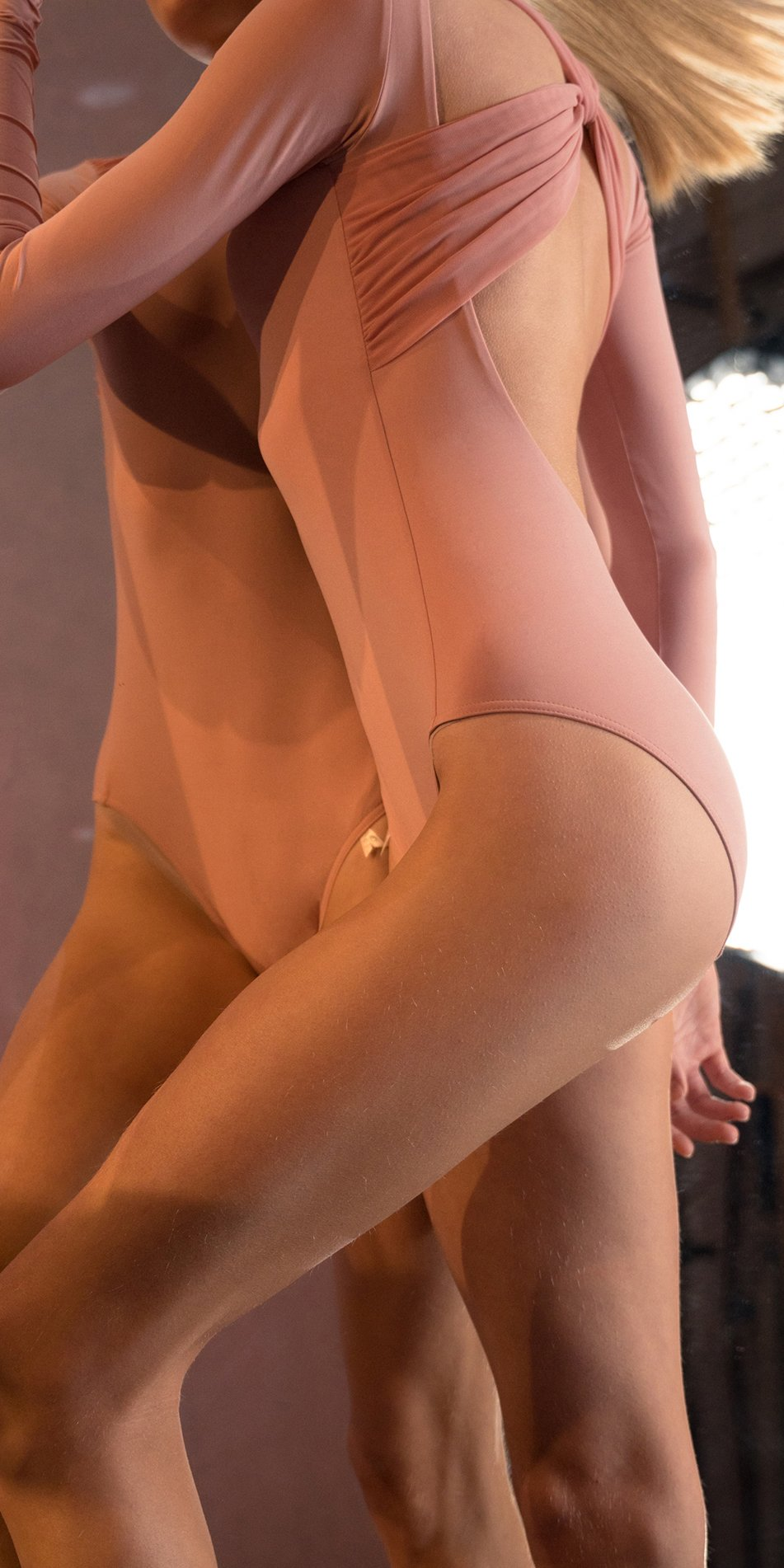 GRES blush knotted back leotard with sleeves 6