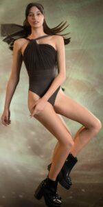GRES chocolate knotted back leotard with sleeves 1