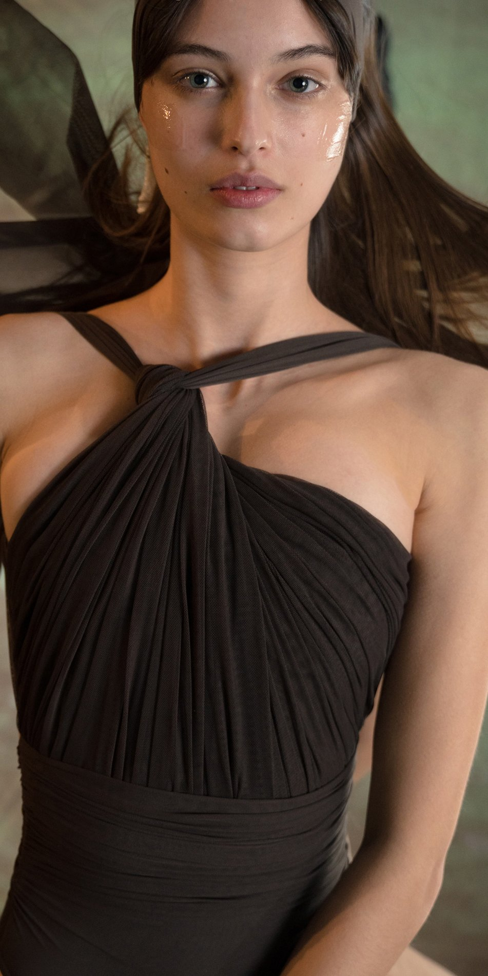 GRES chocolate knotted back leotard with sleeves 3