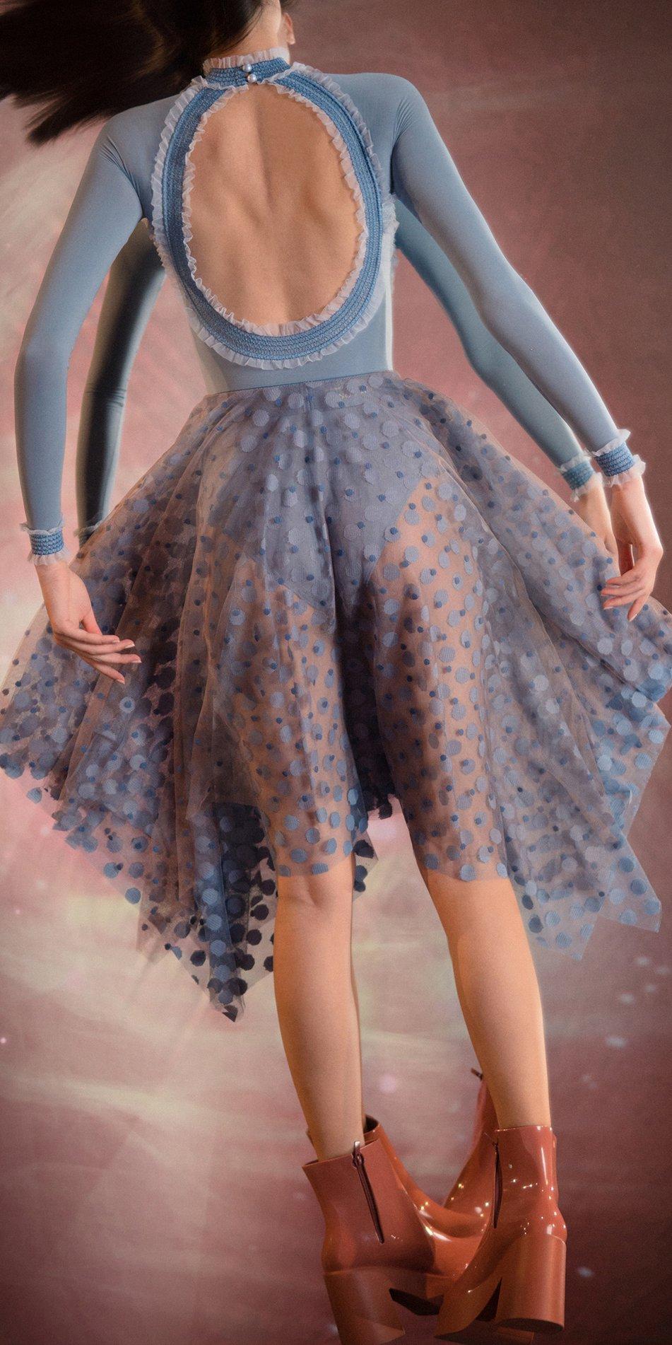 JUMBO POLKA TULLE long square skirt blue blue 1