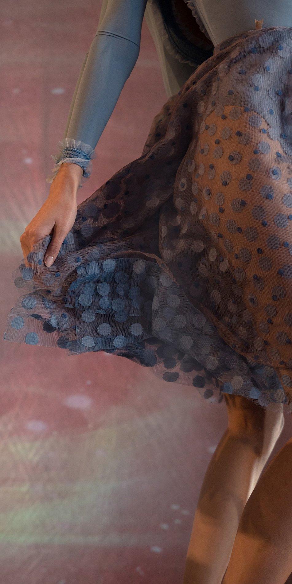 JUMBO POLKA TULLE long square skirt blue blue 2