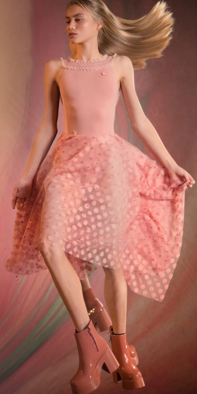 JUMBO POLKA TULLE long square skirt blush blush 1
