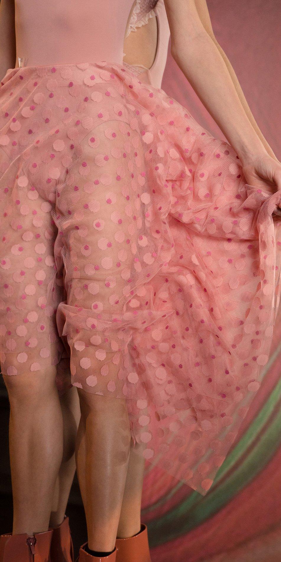 JUMBO POLKA TULLE long square skirt blush blush 3