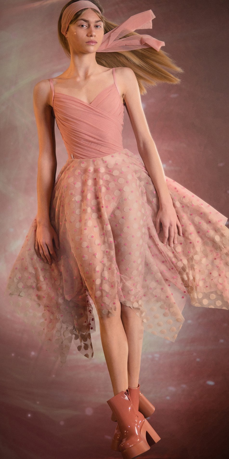 JUMBO POLKA TULLE long square skirt bush nude 1