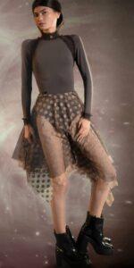 JUMBO POLKA TULLE long square skirt chocolate nude 1