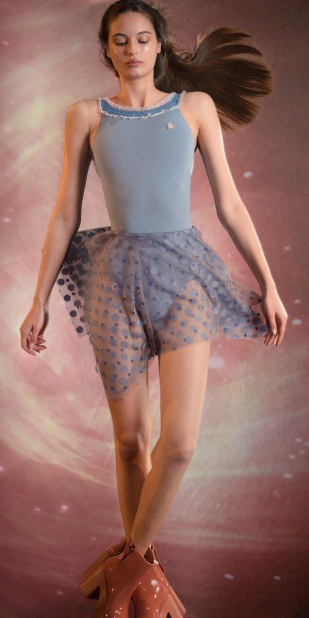 JUMBO POLKA TULLE short square skirt blue blue 1
