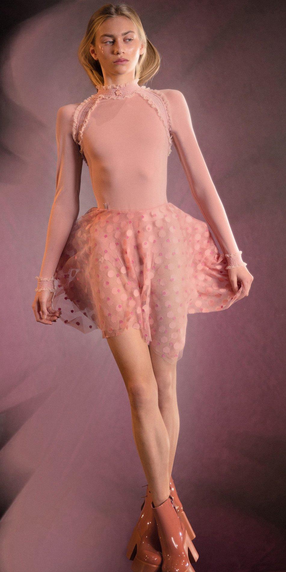 JUMBO POLKA TULLE short square skirt blush blush 1