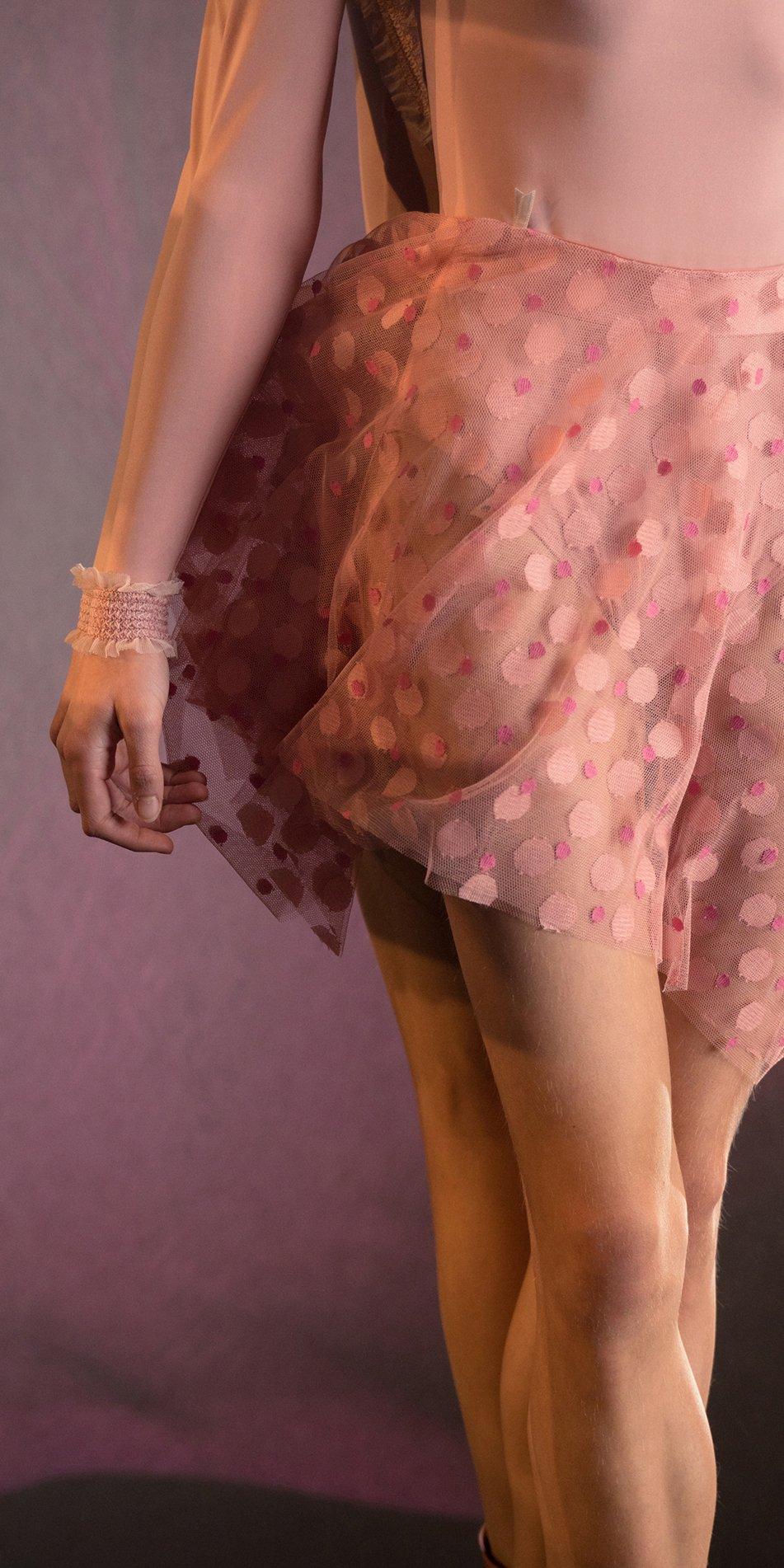 JUMBO POLKA TULLE short square skirt blush blush 2
