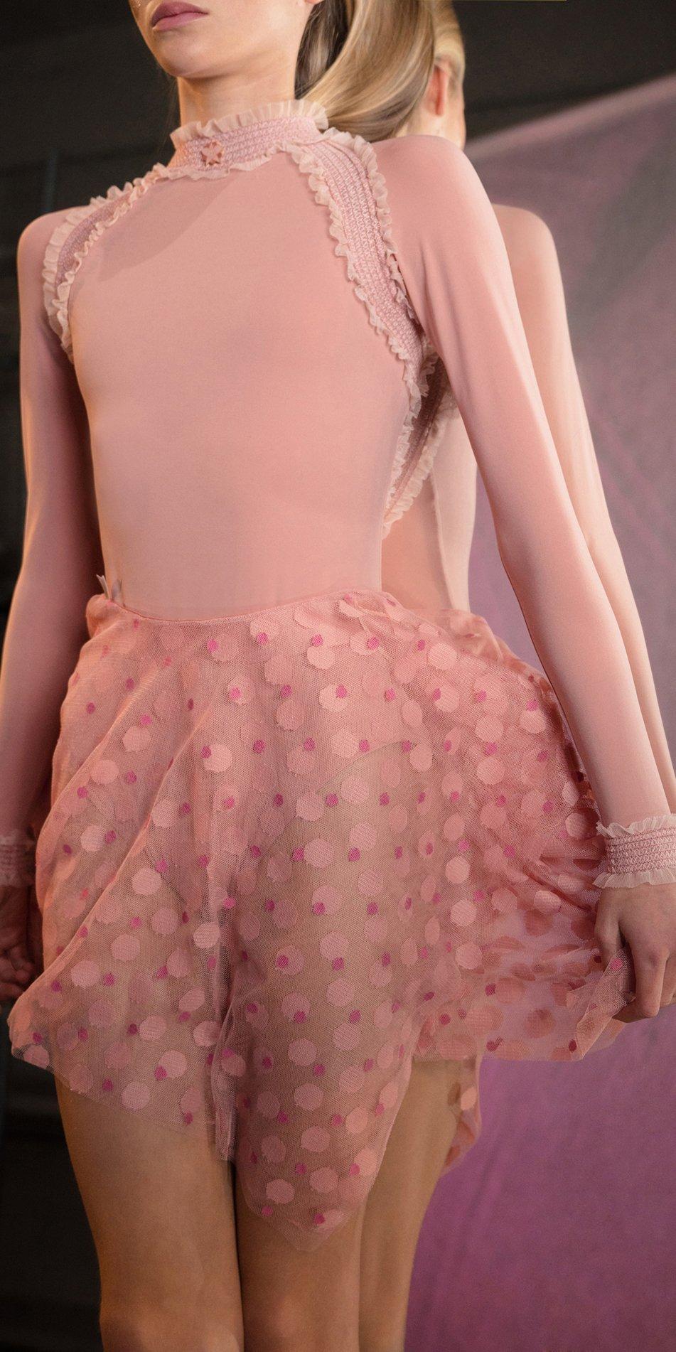 JUMBO POLKA TULLE short square skirt blush blush 3