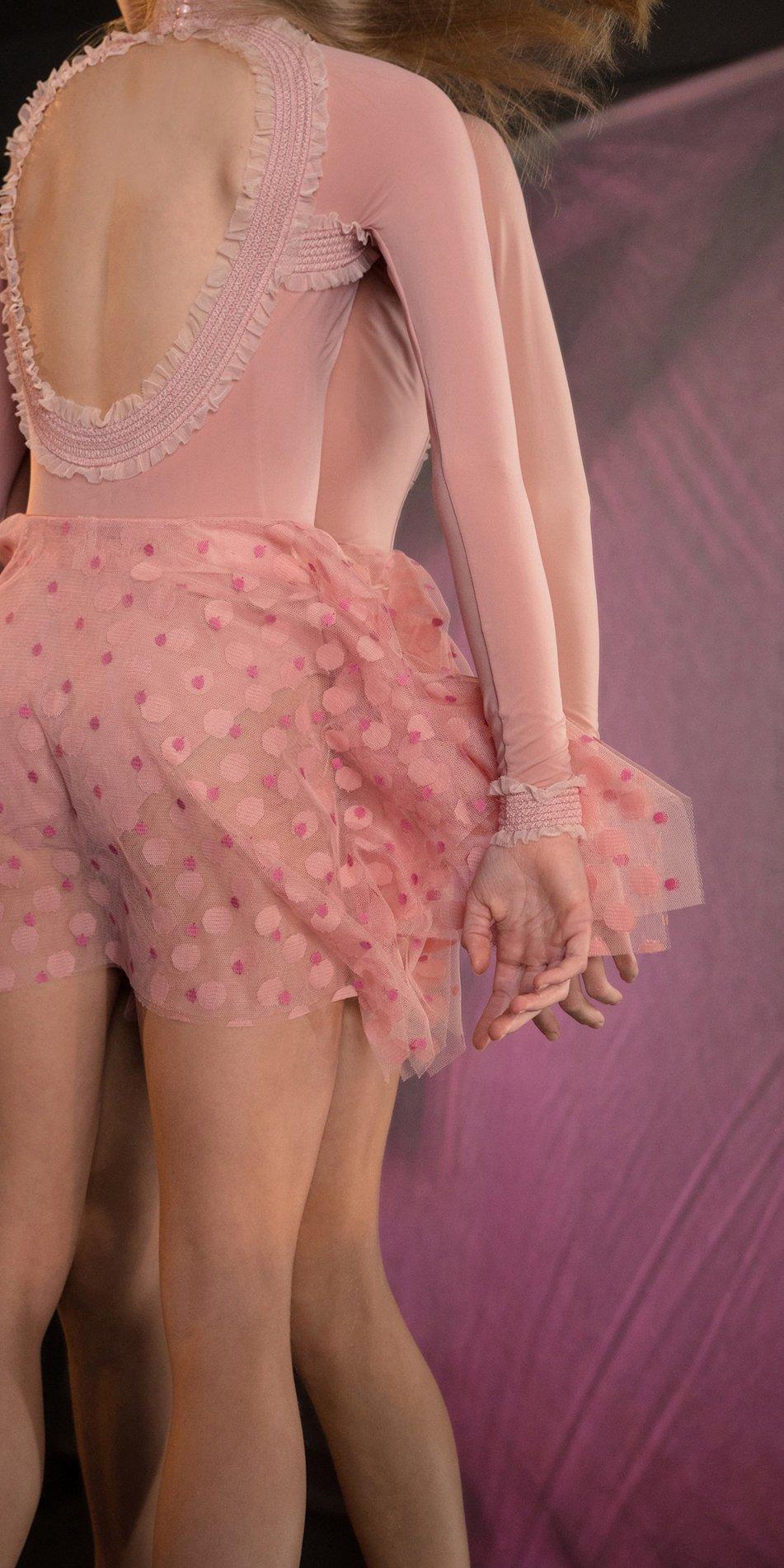 JUMBO POLKA TULLE short square skirt blush blush 4